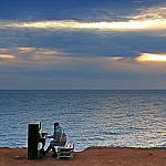 Piano on sunset