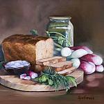 Натюрморт с хлебом и редисом