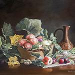 Натюрморт с яблоками и цветами тыквы