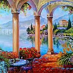 """Morning landscape. Veranda"""