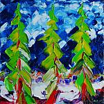Christmas trees. Oil on canvas, 120x120, 1995