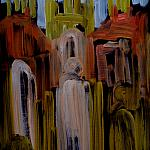 Evening. Rouen Cathedral. (Series - Paris, Lyon, Rouen). Wood, oil, 90-65, 1986.