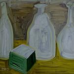GLASS utensils. Oil on cardboard, 35-49, 1969.