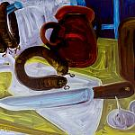 Kitchenware Still Life. Oil on cardboard, 35-49, 1970.