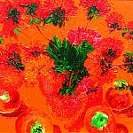 Red still life. (Asters, apples). Canvas, oil, 40-50, 2004.