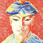 Siamese sailor in the national headdress (Sketch). Paper, color pencil, 50-35, 1980.
