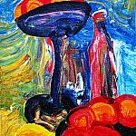 Still life with red bottle. (Series - Turkestan). Oil on canvas, 70-50, 1975.