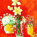 Three spring bouquet. (Series - Turkestan). Oil on canvas, 86-67, 1975