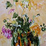 Wilted bouquet. Linen cloth, oil, 50x40, 2006