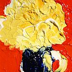 Yellow flower in a blue glass on a red background. Oil on canvas, 100-80, 2006.