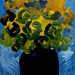 Yellow roses. Wood, oil, 50-35, 1974.