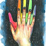 Hand study #5. Finding the rainbow